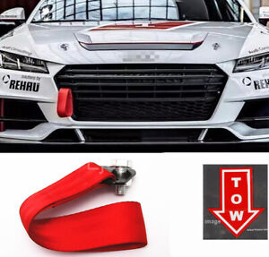Red Bumper Crash Beam Tow Hook Strap + Tow Arrow Sticker For Ford Chevy Dodge