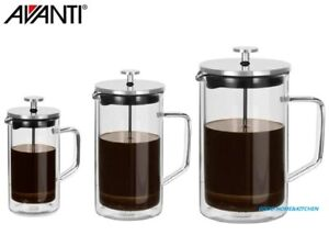 Avanti Coffee Plunger Coffee Press Double Wall Glass S/Steel 360ml 600ml 1000ml