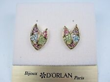 with Swarovski Crystals 0618 D'Orlan Gold Plated Pierced Earrings