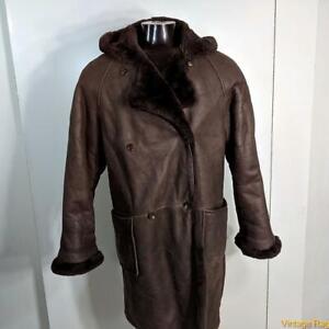SAKS FIFTH AVENUE Vtg USA Shearling LEATHER Jacket COAT Women Size L Brown