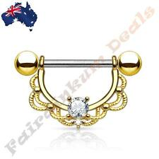14G 316L Surgical Steel Gold Plated Nipple Ring Shield Clear CZ Filigree Drop