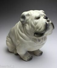 White English Bulldog Sitting Grumpy Droopy Dog Porcelain Figurine Japan NEW