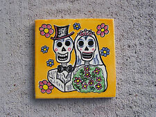 Day of the Dead Handpainted Tile - Happy Skeleton Wedding Couple Yellow - Mexico