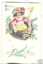 Old Postcard Easter 1916 Girl in Nest with Chicks  CUTE