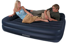 Genuine INTEX QUEEN DELUXE PILLOW REST RAISED AIRBED MATTRESS WITH ELECTRIC PUMP