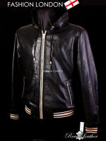 SARACEN Mens Hooded Leather Jacket Leather Hoodies Hip Hop Leather Jacket Black