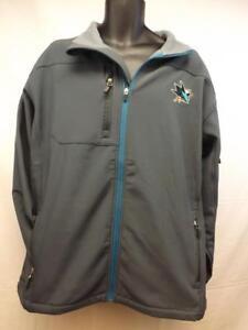 NEW San Jose Sharks MENS Adult Size XL-2XL Gray Hard Shell Full Zip Jacket
