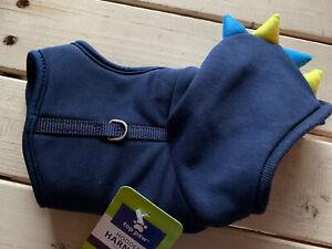 XXS DOG PUPPY Blue Dinosaur Stegosaurus Jacket Harness Teacup Breed