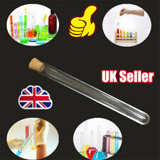 50 Glass Test Tube Round Bottom with Cork Stopper Borosilicate Chemistry  YP