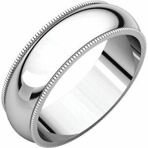 6mm Solid Platinum Milgrain Half Round Comfort Fit Wedding Band Ring All Sizes