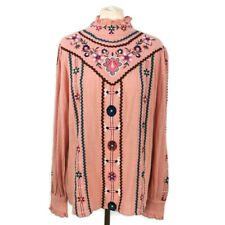 NEW BNWT Falmer 14 Pink Embroidered Long Sleeve Top Gypsy Boho High Neck Modest