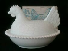 Vintage Indiana Country White Milk Glass Hen on a Nest Candy Dish Original Box