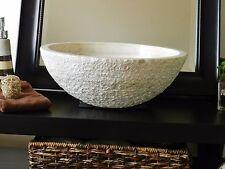 Modern Bathroom STONE VESSEL SINK BEIGE TRAVERTINE Chiseled Rustic