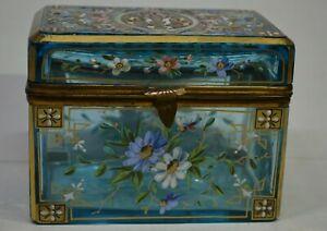 Moser Box light blue enameled hand painted box