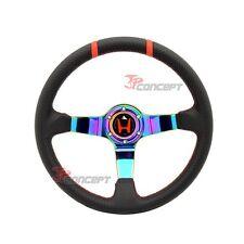 96-00 Civic 350mm Steering Wheel Carbon Look Neo Spokes Deep Dish + Hub Adapter