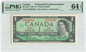 CANADA 1 Dollar 1967, BC-45b-i H/P 0000193 Low S/N, PMG 64 EPQ Ch UNC Commem.