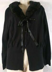Torrid Sweater L Black Long Sleeve Knit Cardigan Fur Collar Front Button Tie