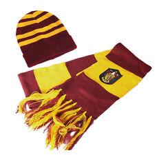 2pcs HARRY POTTER Gryffindor Thicken Wool Knit Scarf+Cap/Hat Wrap Soft Warm