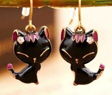 Korea Cute Drops Oil Alloy Black Cats Kitten Stud Earrings Jewelry Gift ♫