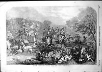 Antique Old Print Epsom Races Return From Derby Horses Carriages Race 1854 19th