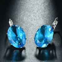 Oval Shaped Huge Gemstone Ocean Blue Topaz  Silver Woman Dangle Hook Earrings