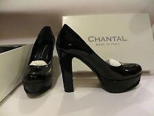 Scarpe donna decollété Chantal, vernice nero, tacco 12, numero 36, nuove