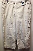 New NY& Co Women's sz 16 Tan Wide-Leg Cargo Utility Crop Capri Pants Khakis