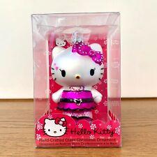HELLO KITTY Sanrio 2008 KURT ADLER Christmas Ornament Glass Hand Crafted Purple