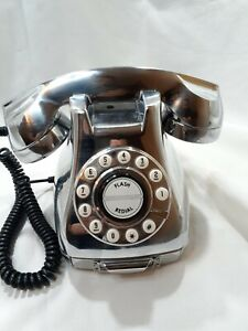 Phone Nineteen Sixties Design Metallic Silver Classic Corded Retro Phone