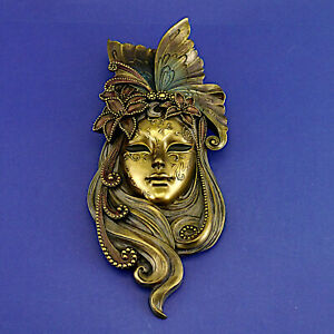 Cold Cast Bronze Lily Veronese Wall Mask by Genesis Fine Arts (2008) 33.5cm High