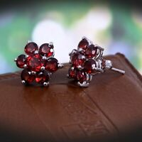 Natural Garnet Flower Stud Earrings Cluster 925 Sterling Silver Simple Gift Her