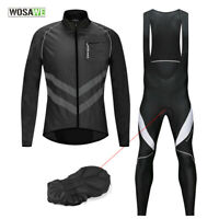 MTB Cycling Sets Windproof Jacket Bib Tights Padded Breathable Jersey Pants Men