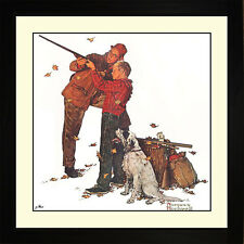Norman Rockwell CAREFUL AIM Framed Dad Boy Shooting Wall Hanging Art Gift