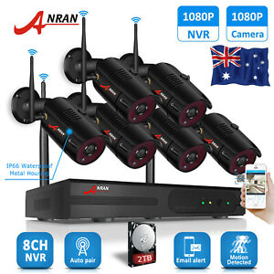 ANRAN 8CH CCTV Security Camera System Wireless NVR Outdoor 1080P HD WiFi 2TB Kit