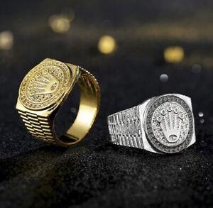 Herren Goldring | Silberring | Krone | König | Hip Hop | Ring (R3020)
