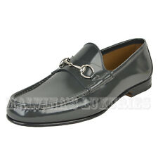 $640 GUCCI MENS LOAFERS 1953 BRUSHED LEATHER HORSEBIT SHOES PIOMBO 9 / 9.5D / 43