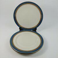 "4 Grecian Key Gorham Flintridge China Teal Green & Gold Dinner Plates 10 3/4"""