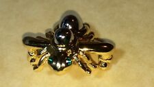 JOAN RIVERS BEE BROOCH/PIN GOLD & SIVLER TONE W/ CRYSTALS  CHANGEABLE COLORS