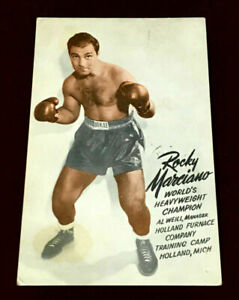 1954 ROCKY MARCIANO HANDWRITTEN & SIGNED PUBLICITY PHOTO POSTCARD  WHEN CHAMPION