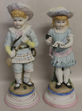Two! ANTIQUE Victorian Bisque Statues BOY & GIRL DOLL