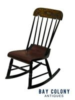 19TH C ANTIQUE AMERICAN SHERATON FOLK ART FANCY PAINT ROCKING CHAIR