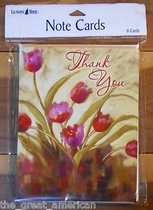 8 Leanin Tree Note Cards THANK YOU, Tulips,Flowers - Nel Whatmore Made USA