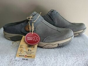 Womens Earth Spirit Leather Clogs Grey Heather Shoes SZ 6.5 NWT!