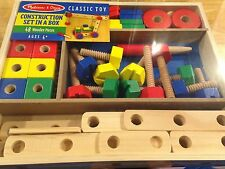 Melissa & Doug CONSTRUCTION SET IN A BOX ~ 48 Wooden Pieces NEW Factory Sealed