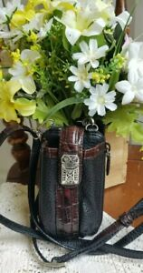 EUC BRIGHTON Wallet Crossbody Black Brown Croc Leather Silver Hardware