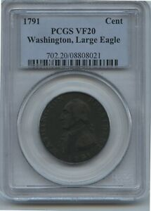 1791 Washington Large Cent Large Eagle PCGS VF 20 Great Color POP 3 Coin