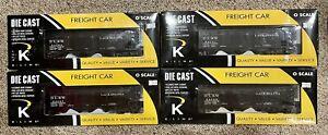 K-LINE DIE CAST K623-1472 DL&W LACKAWANNA 4-Bay Hopper 4-PACK / O Gauge 3 Rail
