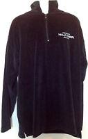 VINTAGE Tommy Hilfiger Jeans 1/2 Zip Velour Sweater Jumper Track Black 2XL XXL
