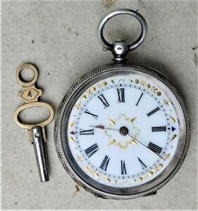 NO RESERVE c1910 Silver Pocket Watch Vintage Antique