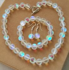 10mm White Gleamy Rainbow Moonstone Round Beads Necklace Bracelets Earrings Set